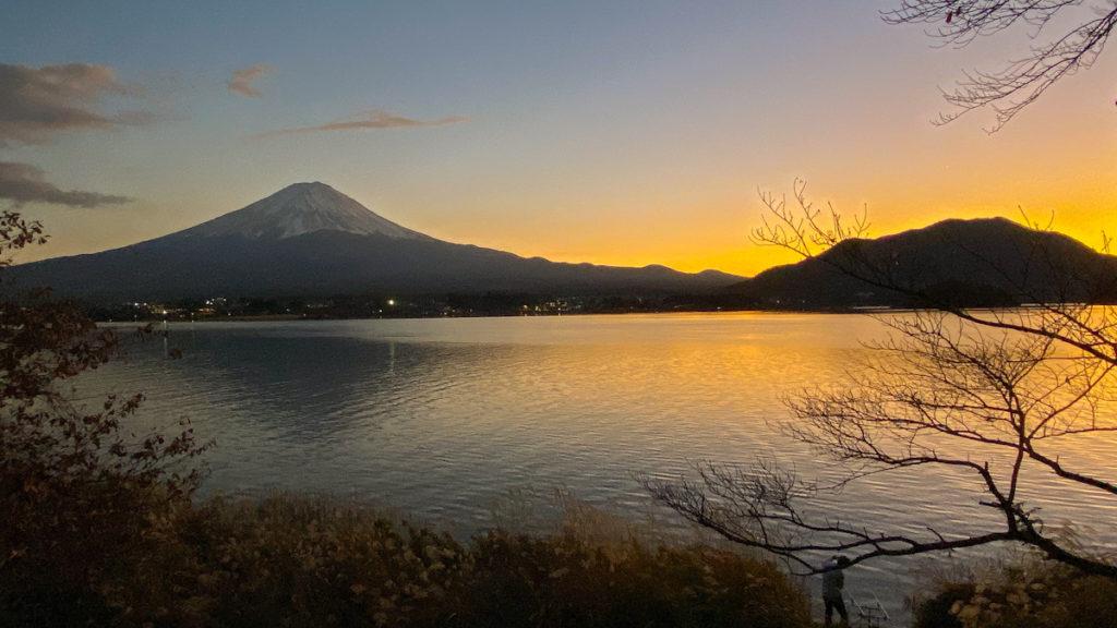 河口湖 富士山 夕焼け