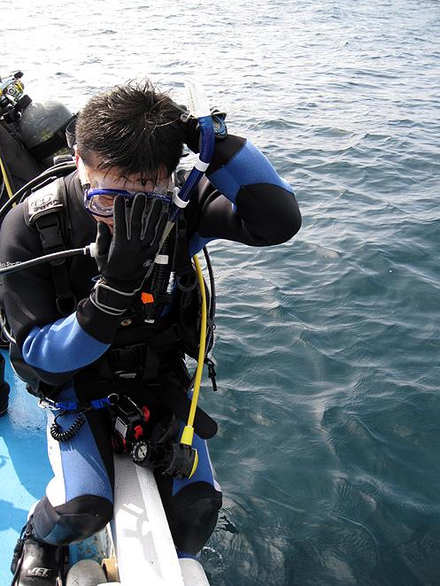 ボート ダイビング サイドロール エントリー