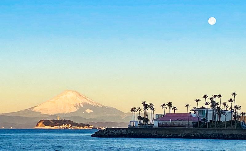 逗子 江の島 富士山 湘南 早朝 赤富士